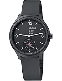 Mens Helvetica Quartz Stainless Steel and Rubber Casual Watch, Color Black (Model