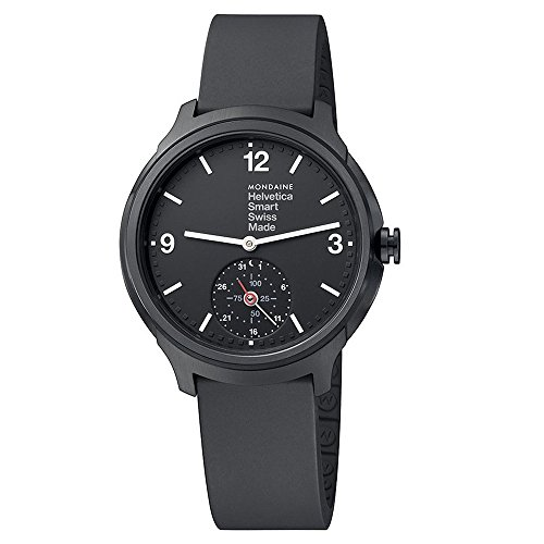 Mondaine Men's Helvetica Stainless Steel Quartz Watch with Rubber Strap, Black, 20 (Model: MH1B2S20RB)