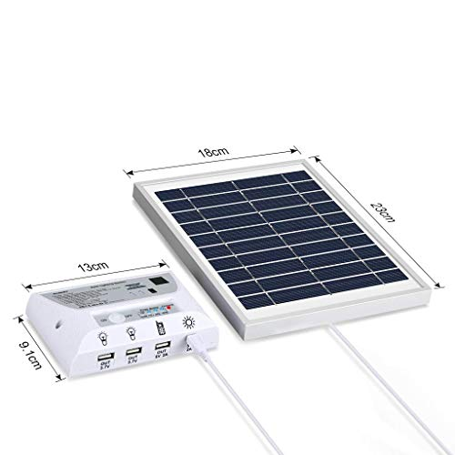 Solar Panel System Lights Kit, Upgraded Portable Home Solar Lights Outdoor Solar Powered Charger with Switch Controller, 2 LED Bulbs, 3 USB Ports for Indoor Outdoor Camping Garage Emergency by WaHe (Image #4)