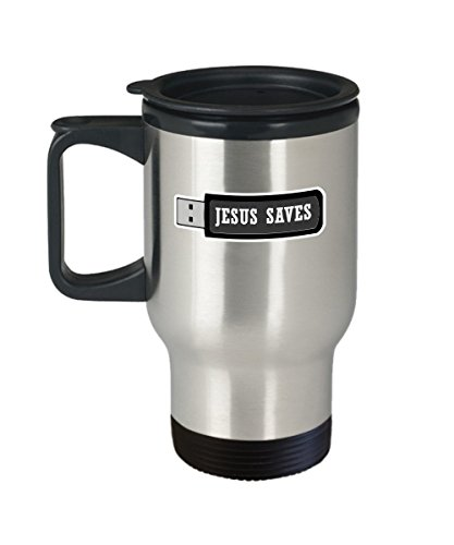 Jesus Saves Coffee Mug Cup (Travel) 16oz Programmer Christian Catholic Gifts Shirt Poster Sticker Pin Decal Artwork Decor Accessories by Trinkets and Novelty