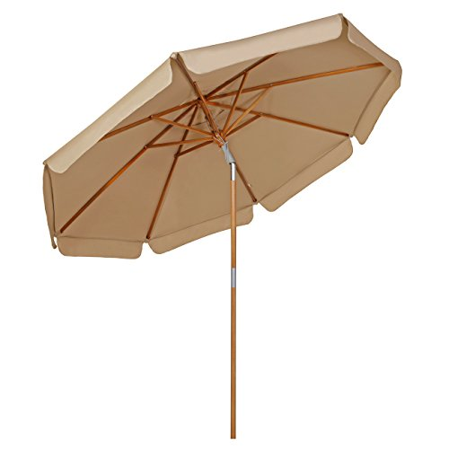 Sekey 9ft / 2.7m Outdoor Wooden Umbrella Beige/Taupe,Patio Umbrella Beige/Taupe Market Umbrella Beige/Taupe, with tilt and Crank,100% Polyster,Round Sunscreen UV50+