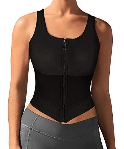 YIANNA Women Waist Trainer Vest Zipper Sauna Suit Tank Top Hourglass Slimming Body Shaper Weight Loss Tummy Control Plus Size, YA11888-Black-3XL