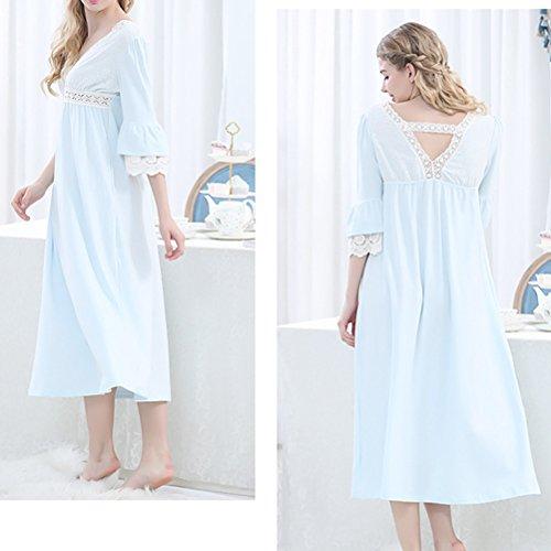 Zhuhaitf Alta calidad Womens Comfy V-neck Breathable Cotton Sleep Skirt Luxury Pajama Nightwear Blue