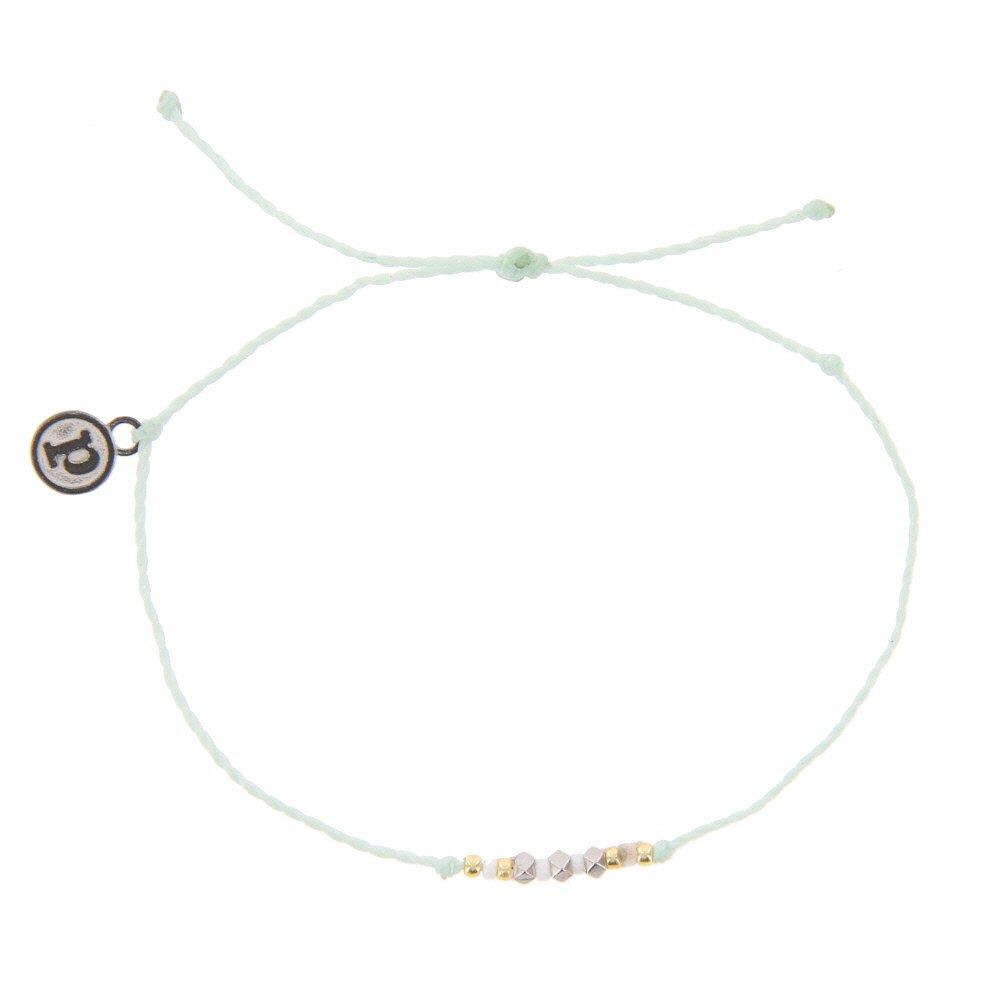 Pura Vida Silver Delicate Seed Bead Seafoam Bracelet - Plated Brand Charm, Adjustable Band - 100% Waterproof