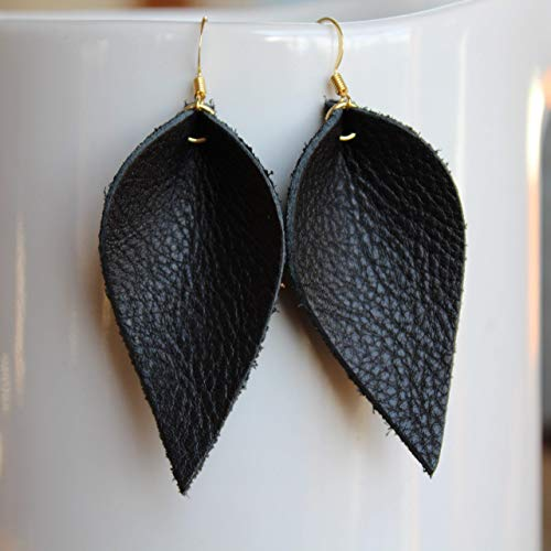 Mini Genuine Leather & Sterling Silver Leaf Earrings // Black Leather // Joanna Gaines Inspired