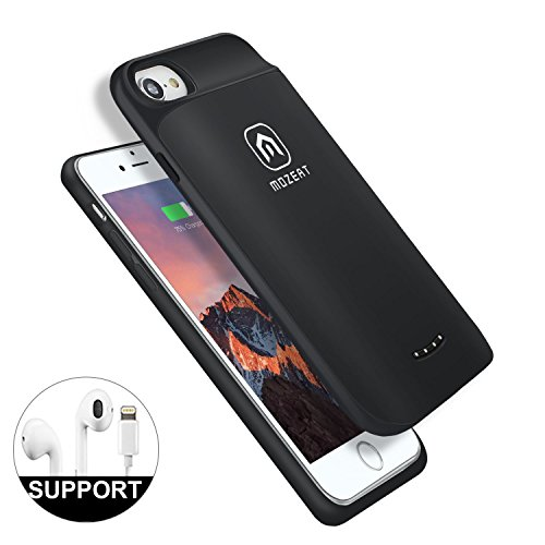 iPhone 8 7 6s 6 Battery Case, Mozeat 4000mAh Rechargeable Extended Battery Pack Supports Lightning Headphones Protective Charging Cover with Magnetic Stand Function (Black)
