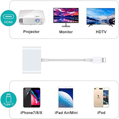 Support OS 13 4K HDMI Adapter Cable HOMFUL 1080P HDMI Adapter for Phone Plug and Play Lighting to HDMI Adapter Compatible with Phone 11//XR//XS//X 8 7 and Pad to HD TV//Monitor//Projector