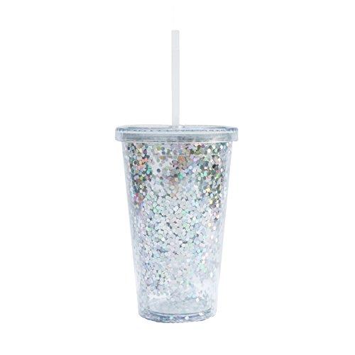 Silver Glitter Acrylic Tumbler Metallic Mug Travel Mug Gift for Boss Gift for Her Girl Boss Coffee Mugs Travel Tumbler Glitter Mug Silver
