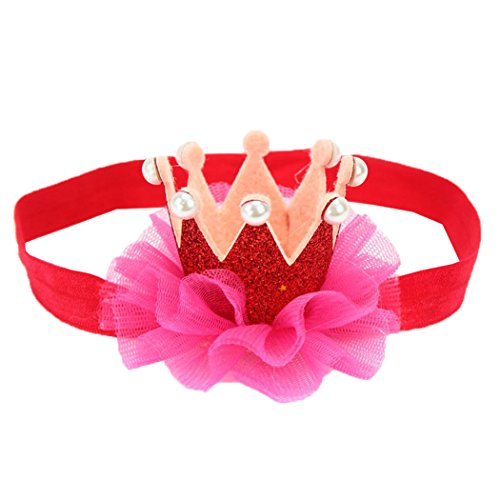 Price comparison product image Baby Toddler Kids Birthday Crown Headband Lace Flowers Hair Accessories (Red)