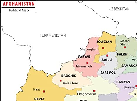 Amazon Com Afghanistan Political Map Laminated 36 W X 26 6 H