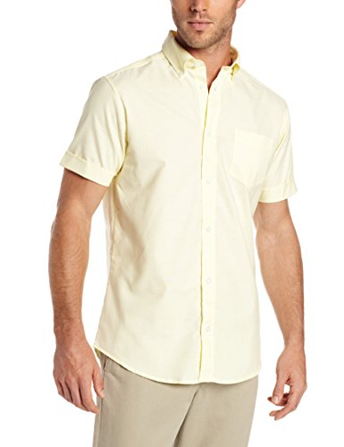 Lee Uniforms Men's Short Sleeve Oxford Shirt, Yellow, X-Large Classic Cotton Oxford Shirt