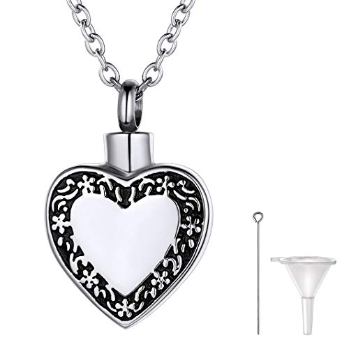 Vintage Urn - Richsteel Vintage Lace Heart Urn Pendant Necklace for Ashes Stainless Steel Memory Keepsake Cremation Jewelry