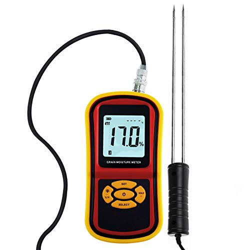 - Portable Digital Grain Moisture Meter, Compact Rice Corn Wheat Tester Analyzer- Range 5~30%, Temperature -14~140°F with LCD Display, Hygrometer Humidity