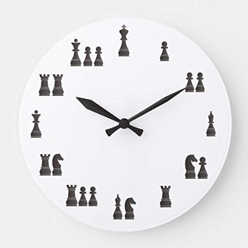 Moonluna Chess Pieces Nursery Wooden Wall Clock Battery Operated Roman Numerals Silent Non-Ticking 14 Inches Kids Clock