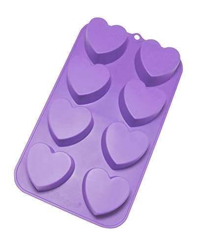 Bakerpan Silicone Mini Cake Pan, Muffin Baking Tray, Pastry Mold, 2 1/4 Inch Hearts, 8 Cavities (Silicone Heart Pan)