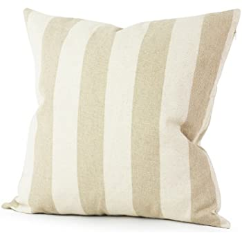 Lavievert Decorative Ramie Cotton Square Throw Pillow Cover Cushion Case Handmade Taupe and Khaki Stripe Toss