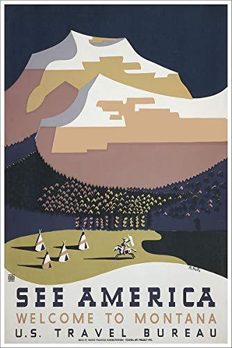 Montana Vintage Travel Poster - - See America Welcome to Montana WPA Vintage Travel Poster - 24x36