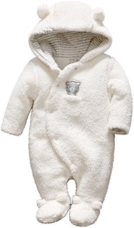 Newborn Baby Jumpsuit 0-12 Months Boys Girls Reindeer Elk Baby Look Winter Hooded Warm Fleece Romper Warm Bunting Outwear