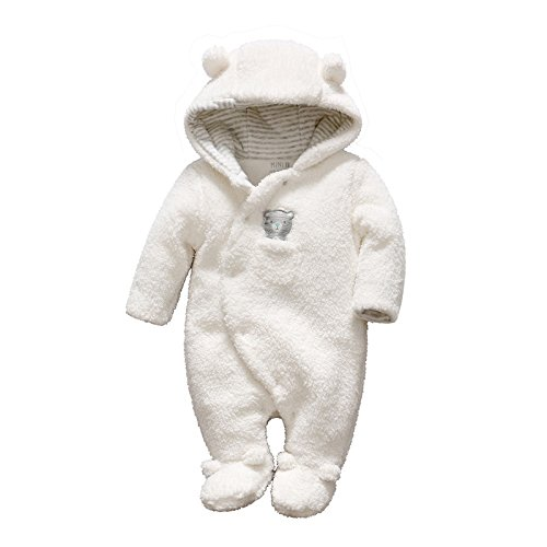 - Newborn Baby Romper Winter Bear Style Hooded Plush Jumpsuit Cosplay Clothes (0-3 Months, White)
