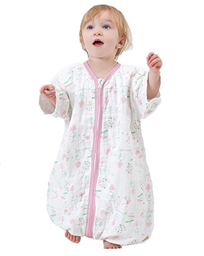 luyusbaby Muslin Sleeping Bag Baby Sleeping Bag with Feet Detachable Sleeve Wearable Blanket X-Large from luyusbaby