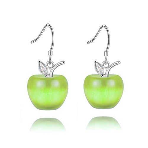 Uloveido Girls Cute Light Green Dangle Apple Earrings for Women Mom Friend White Gold Plated Earrings YL007-E