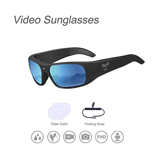 OHO sunshine Waterproof Video Sunglasses, 1080P HD Outdoor Sports Action Camera with 32GB Built-in Memory and Polarized UV400 Protection Safety Lenses,Unisex Sport Design