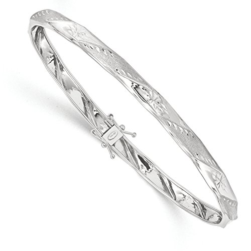 ICE CARATS 14k White Gold Flexible Bangle Bracelet Cuff Expandable Stackable Fine Jewelry Gift Set For Women Heart by ICE CARATS