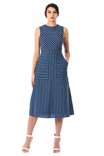 eShakti Women's Cotton Seersucker Stripe Chevron Dress S-4 Regular (Petite Stretch Seersucker)
