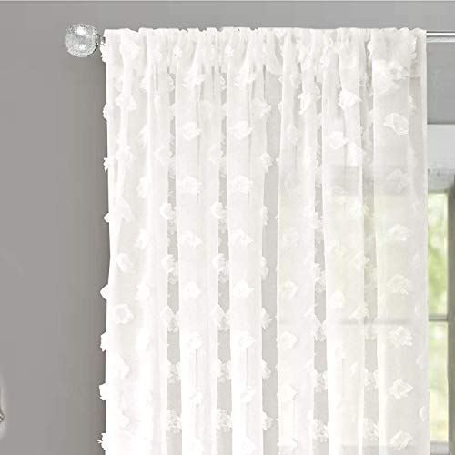 (DriftAway Olivia White Voile Chiffon Sheer Window Curtains, Embroidered with Pom Pom, Set of Two Panels, 52