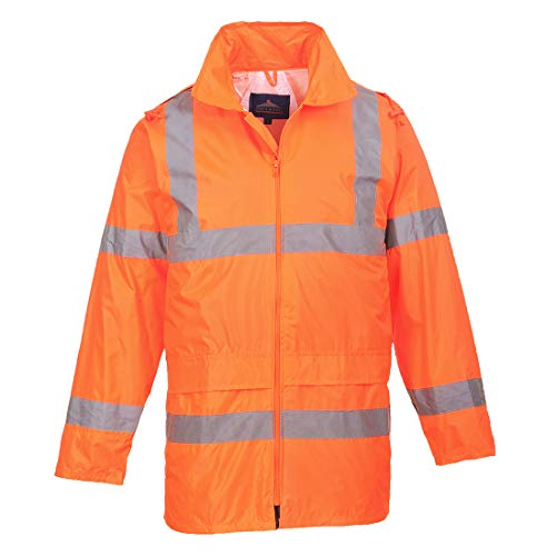 Portwest UH440ORRXL Regular Fit Hi-Vis Rain Jacket, X-Large, Orange