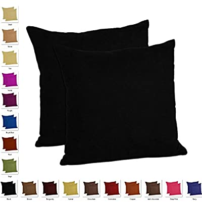 MoonRest - Pack of 2- Micro-Suede Decorative Throw Pillow Case - Faux Suede Cushion Cover (Set of 2)