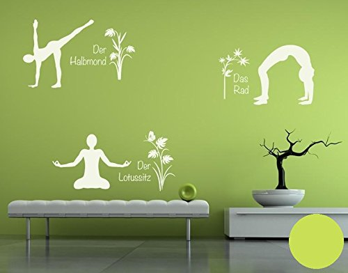 Klebefieber Wandtattoo Yoga Figuren Set 4 B x H  110cm x 170cm Farbe  Creme B071VDKYCB Wandtattoos & Wandbilder