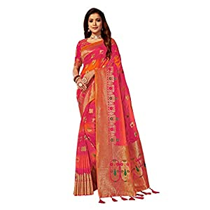 MANOHARI Women's Woven Silk Blend Saree With Unstitched Blouse Piece (MN872_Orange)