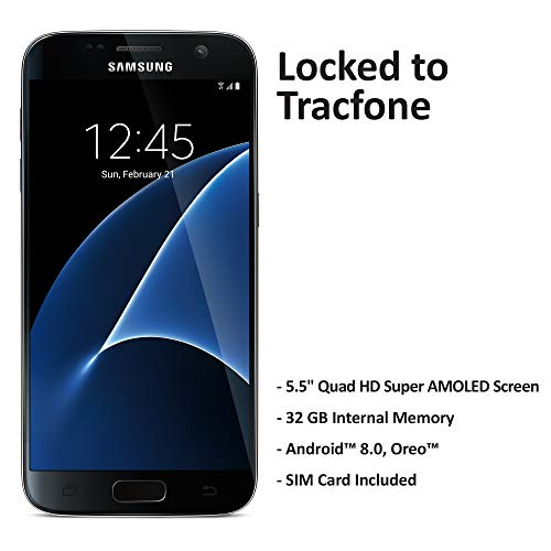 TracFone Samsung Galaxy S7 4G LTE Prepaid Smartphone (Locked) - Black - 32GB - Sim Card Included - CDMA