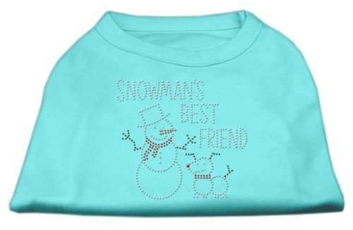 Mirage Pet Products 12-Inch Snowman's Best Friend Rhinestone Print Shirt for Pets, Medium, Aqua ()