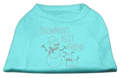 (Mirage Pet Products 12-Inch Snowman's Best Friend Rhinestone Print Shirt for Pets, Medium, Aqua)