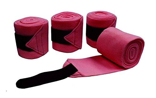 Derby Originals Set of 4 Super Soft Fleece Horse Polo Wraps with Velcro (Dark Pink)