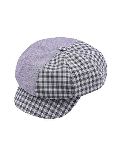MsLure Women's Retro Newsboy Cap Plaid Cadet Hats Visor Beret Hats Gray,One Size