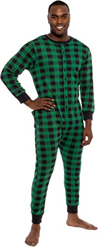 Ross Michaels Mens Buffalo Plaid One Piece Pajamas - Adult Union Suit Pajamas with Drop Seat (Green/Black, Small)