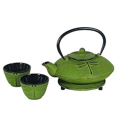 Cast Iron Dragonfly Tea Set -25 Ounce Teapot, Two Cups & Trivet