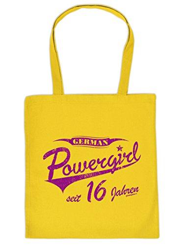Stoff-Henkeltasche - Powergirl seit 16 Jahren - Geburtstagsgeschenk - Jutebeutel - Fun-bag - Einkaufstasche. Farbe: Gelb