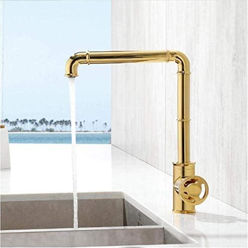 ZT-TTHG 蛇口キッチン水栓レトロ産業スタイルのマットブラックブラスクレーン浴室蛇口温水と冷水ミキサータップ