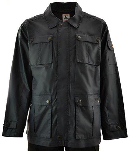 Men's Lightweight Waxed Cotton Field Jacket (Navy, L)