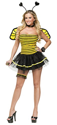 Fun World Women's Busy Bee Insects Sexy Halloween Costume, Multi, Sml/Med]()