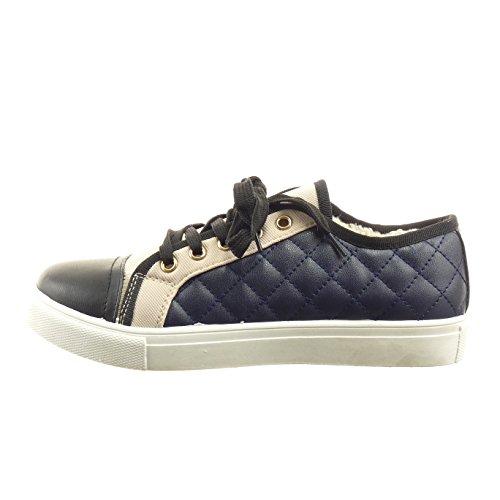Acolchoado Sapatos Sopily Damenmode Sapatilha Azul Bi prima v6P4qIPn