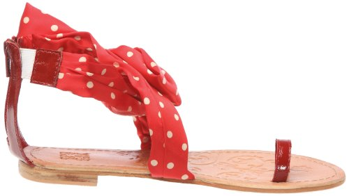 Colours of California - Sandalias de cuero para mujer Rojo