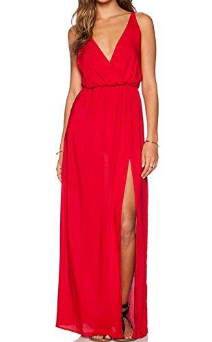Sheinside® Women's Red Deep V Neck Split Maxi Dress (XL, Red)