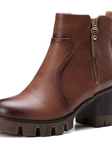 GGX/ Damen-High Heels-Kleid-PU-Flacher Absatz-Absätze-Schwarz / Braun / Grau / Kamel black-us10.5 / eu42 / uk8.5 / cn43