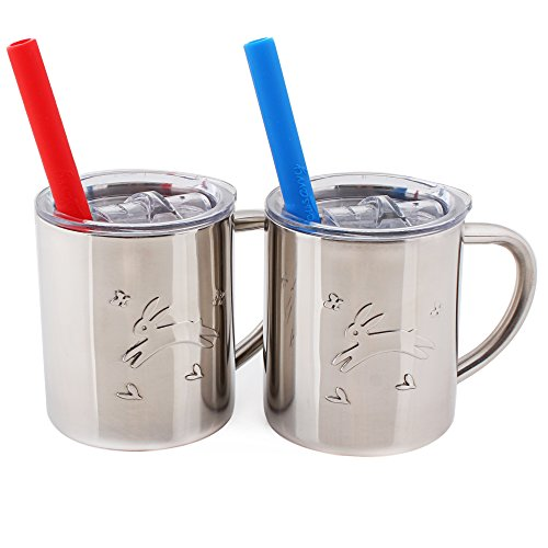 Housavvy Rabbit Stainless Steel Kids Cups with Lids and Straws,7.5 OZ, 2 PACK - Upgraded Lids (Kids Sippy Cups Insulated compare prices)