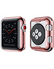 Simpeak Screen Protector Cover Case for Apple Watch 42mm, All Around Soft TPU Clear Touch Screen Protector Bumper Cover Plated Rose Gold
